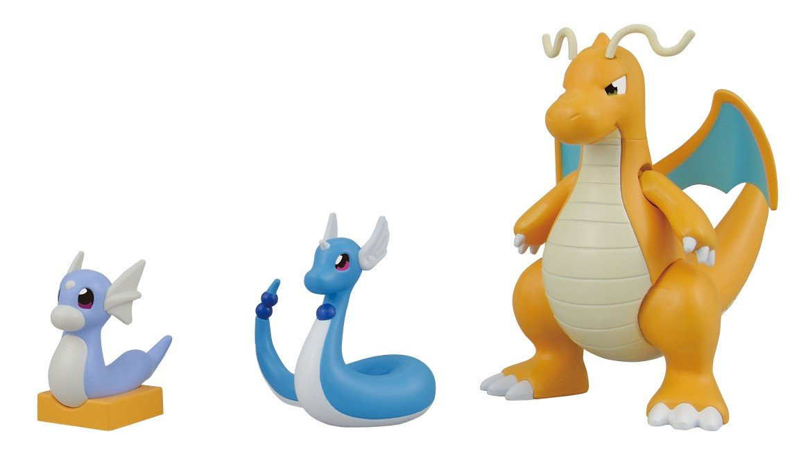 Bandai pokemon dragonite kairyu evolution figure set ebay